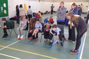 Meridian children taking part in Boccia