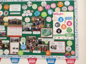 School Games values noticeboard at Swavesey Primary.