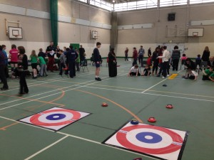 Children competing in the New Age Curling