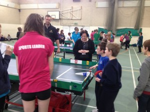 Children have a go at table cricket