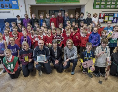 School Games Mark platinum assembly at Harston & Newton Community Primary School, High St, Cambridge, Harston. Picture: Keith Heppell
