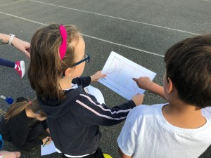 Children working together to complete the netball numbers task
